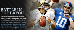 Battle in the Bayou between New Orleans Saints and the New York Giants